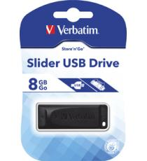 PENDRIVE 8GB USB VERBATIM -98695- SLIDER USB 2.0 PENDRIVE VERBATIM SLIDER 8 GB
