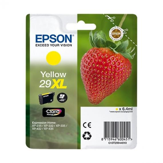 ORIGINALE EPSON T2994XL GIALLA PER EPSON EXPRESSION HOME XP235 XP332 XP335 XP432 XP435 2994 29XL C13T29944010 CAPACITA' 6,4ML