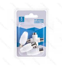 KIT CONNETTORE ANTENNA TV 3PZ 9.5MM SDOPPIATORE DUPLICATORE A T (2FEMMINE-1MASCHIO) + 2 CONNETTORI SPINE (MASCHIO) JACK