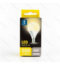 LAMPADINA LED A5 G45 6W ATTACCO E14 500 LUMEN COLOR BOX 6400K LUCE FREDDA ANGOLO 230 D45*H80mm EQUIVALE 50W INCANDESCENZA