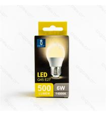 LAMPADINA LED A5 G45 6W ATTACCO E27 500 LUMEN COLOR BOX 6400K LUCE FREDDA ANGOLO 230 D45*H80mm EQUIVALE 50W INCANDESCENZA