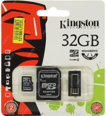 MICRO SD 16GB KINGSTON MULTI KIT MOBILITY KIT CON ADATTATORE SD E USB CLASSE 4 MBLY4G2/16GB Scheda microSDHC – Classe 4